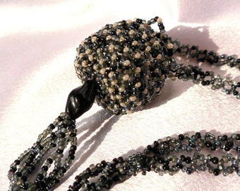 Beaded Black and Grey Woven Basket Necklace