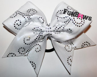 Gorgeous Swirls Rhinestone Glitzy Cheer bow by FunBows !