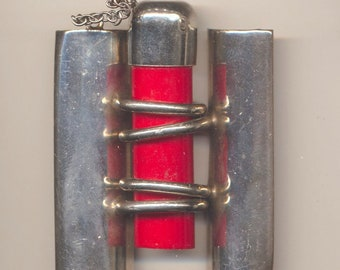 Antique Vintage Deco Style Red Bakelite and Chrome  Belt Buckle -  Unusual