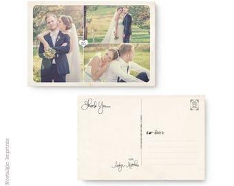 "Postcard Wedding Thank You Card, Vintage Wedding Thank You Cards, Wedding thank you notes - the ""Aralyn 1"""