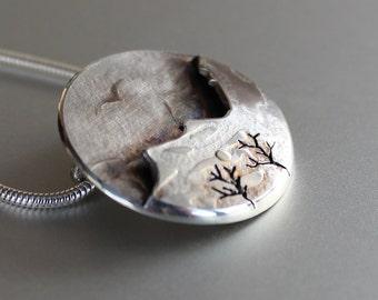 Mountain Bird Pendant, Silver Pendant, Silver Jewellery, Silver jewelry.