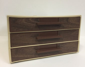Mid Century Desk Organizer/ Vintage Plastic Storage Box with drawers/ Vintage Paper storage