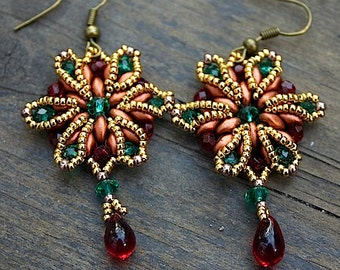 TUTORIAL - Star of India, earrings with Super Duo Beads