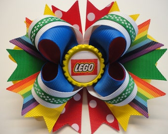 """LEGO Boutique Stacked Hair Bow Red,Yellow,Green,Royal Blue  W5.0"""" x L4.5"""" x H2.0"""""""