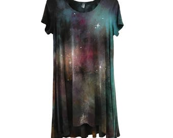 Galaxy Dress, plus size dress pastel goth burning man clothing galaxy plus size rave occult fairy kei wanderlust constellation dress