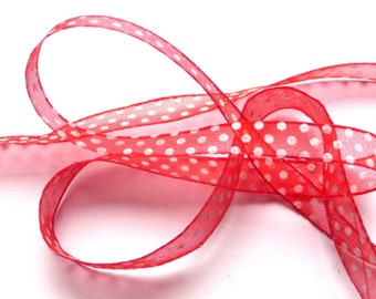 5 m organza Ribbon red 14 mm with white dots