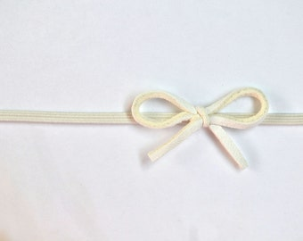 White Leather Dainty Neutral Bow Headband Photo Prop Blessing Baptism Headband for Newborn Baby Little Girl Child Spring Summer little bow
