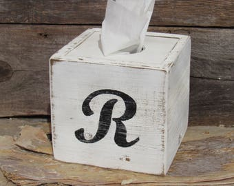 Monogram Tissue Box Cover Farmhouse Handmade Square Naturally Aged Distressed Wood Gifts Under 30 Dollars Gift For Her Bathroom Home Decor