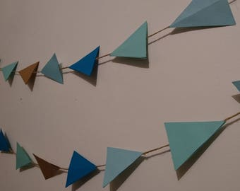 Triange geometric blue brown bunting garland wedding birthday decoration