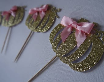 Little Pumpkin Cupcake Toppers (12) with pink satin bow