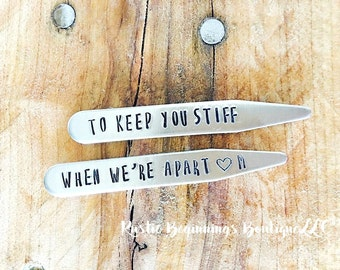 Personalized Collar Stays, Gifts for Him, Valentines Gift for Him, Husbands Gift, Boyfriend Gift, Wedding Gift, Grooms Gift