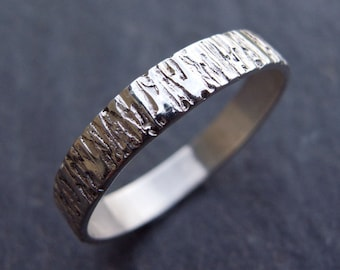 Textured Silver Woodgrain Ring, Sterling Silver RIng, Hammered Silver, Silver Jewelry