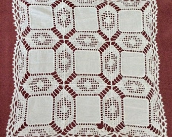 Vintage White Crochet Doily with Fabric Squares