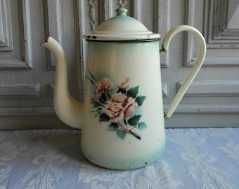 French vintage enamel coffee pot, lidded jug green and white floral cafetiere 1930's pink roses enamelware antique country kitchen chic
