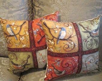 Bird Design Pillow, Throw Bird Pillow, Shabby Chic Pillow, High Fashion Throw Pillow with Bird Motif French Market Design pillow, Handmade