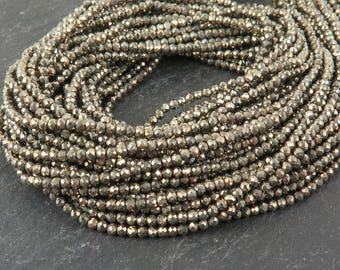 "AAA Pyrite Faceted Rondelles 2mm ~ 13"" Strand"