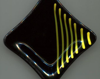 Slumped Glass Plate Black and Yellow Stripe  - Small Square Appetizer dish , Condiment dish, Dipping Sauce, Asian Dish, Sushi dish