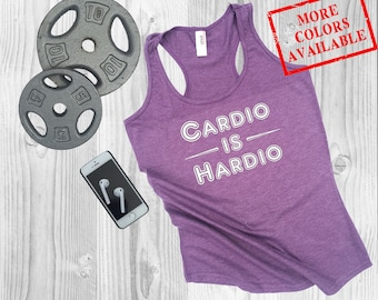 CARDIO IS HARDIO - Women's Custom Soft-Blend Racerback Inspirational Funny Gym Fitness Tank Top Tee