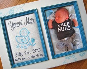 Baby boy personalized 5x7 picture frame Custom baby boy gift Baptism gift Newborn photo frame Baby shower gift Blue boy nursery