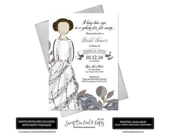 Star Wars Bridal Shower Invitation Printable or Printed R2D2
