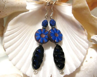 Joyful Blue - earrings - blue glass - sterling silver - cobalt blue - sapphire blue