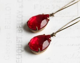 Red Drop Earrings, Large Teardrop Earrings on Antiqued Brass Hooks, Ruby Red Dangles, Rhinestone Jewelry (Clip on Available)