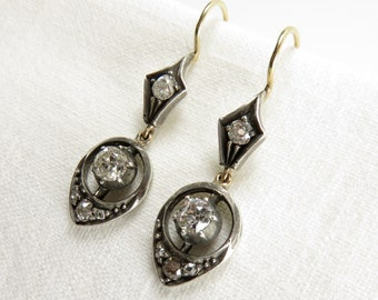 Circa 1900 Old European Cut Diamond Drop Earrings
