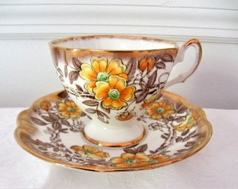 Barberry Salisbury Fine Bone China Orange Floral Tea Cup And Saucer Set. Made In England