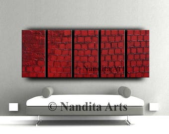 Red Abstract Art Large Red Wall Art Modern Painting Texture Red Wall Decor Red Painting on & Woman Portrait in Red Large Original Painting Print Abstract