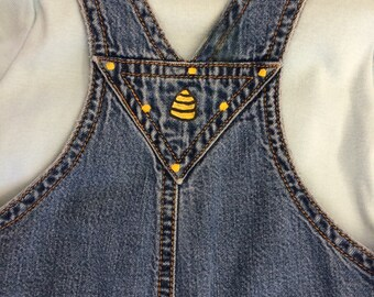 Bumble Bee baby overalls, One of a kind baby overalls , 6-12 months with matching bodysuit