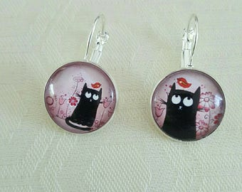 "Earrings ""cat and bird"" Cabochon silver stud earring"