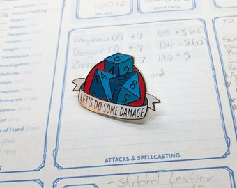 Dungeons and Dragons Pin, Dnd Enamel Pin, d4 d8 d6 Pin, DnD Enamel Pin, Tabletop RPG pin, Dungeon Master Gift, D&D pin, Dnd Dice pin