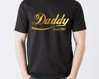 Daddy since... black T-shirt with Gold foil lettering