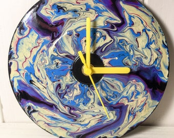 Hand Painted Vinyl Record Clock: Psychedelic Flower (Abstract)