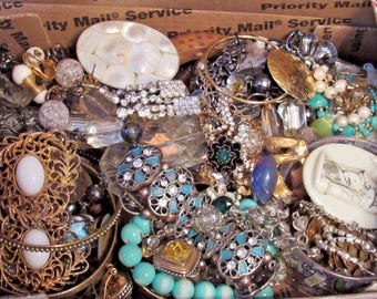 Grab Bag Junk Drawer Lot Vintage to Current Jewelry unresearched untested GG 10 lbs