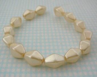 Vintage .. Glass Beads, Cream Faux Glass Pearl 10 x 6 Diamond Shaped