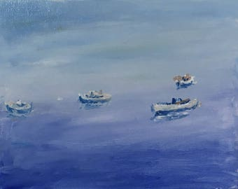 Oil painting of Boats in a Calm Sea