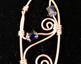 Copper Pendant with Navy Blue Glass Beads