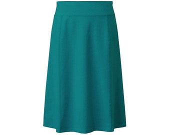 Baby'O Girl's Stretch Cotton Modest Knit Panel Below the Knee A-Line Skirt