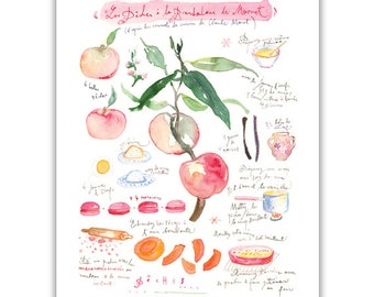 Peach pie recipe print, Kitchen art, Watercolor food painting, Bakery poster, Food artwork, Fruit art, French kitchen decor, Pastel wall art