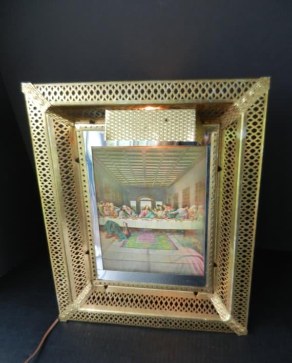 Illuminated Picture Frame, Lenticular Jesus and Last Supper, Light ...