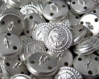 6pcs   Matte Silver - 15mm - CSSB-CVPA15 - Copper Wire Shank Sewing Button