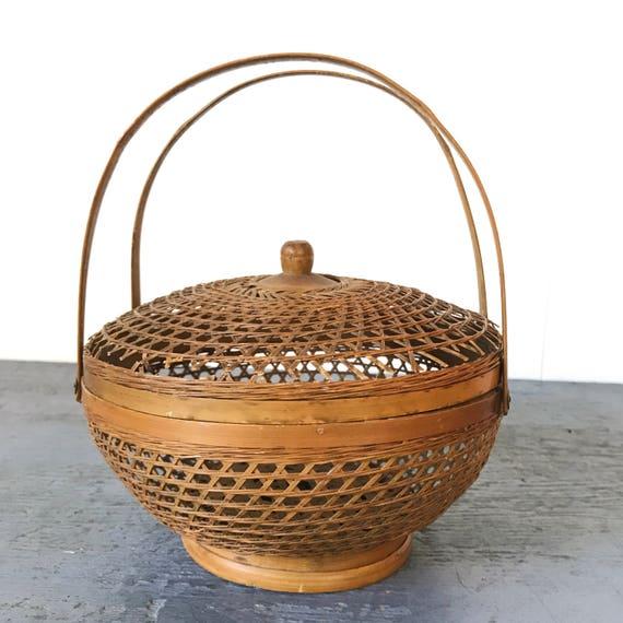 vintage lidded basket with handles - woven bamboo - double handle basket