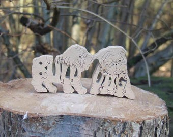 Bulldog pups jigsaw, Bulldog pups puzzle, Bulldog pups ornament, Bulldog pups gift, unique dog gift
