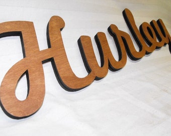 Personalized Laser Cut Name / Word Cutout, Wall Decor with Sustainable Wood FSC-certified PureBond