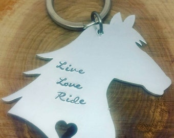 Horse keyring, horse riders gift, gifts for horse lovers, Hand stamped Keyring Personalised horse gift. Horse Keychain.