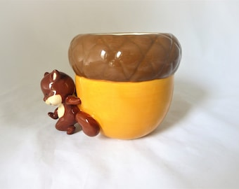 Vintage Squirrel Planter Holding a Huge Acorn, Nut, Cabin Decor, Collectible Planter