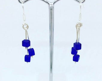 Sterling silver glass cube drop earrings