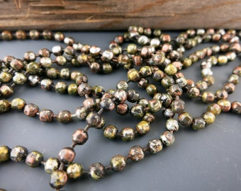 """Urban Myth Copper Ball Chain, 3.2mm Faceted Ball Chain, Hand Applied Patina, by the Inch, 6"""" to 72"""""""