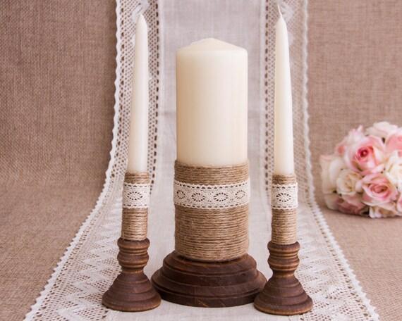 Wedding Candles: Wedding Candles Rustic Unity Candle Set Twine And Lace Wedding